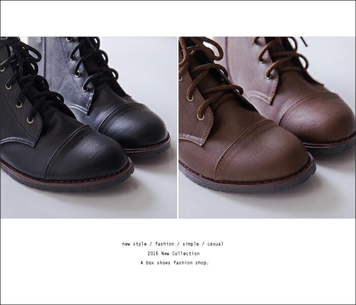 格子舖*【KW9989】MIT台灣製 個性輕旅行 皮革素面側拉鍊綁帶式 粗低跟超舒適短靴 機車靴 2色 2