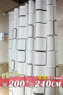 《喨晶晶生活工坊》PEVA黑白方格加厚浴簾防水浴簾加金屬扣送掛鉤200*240隔間簾門簾 阻擋冷氣暖氣