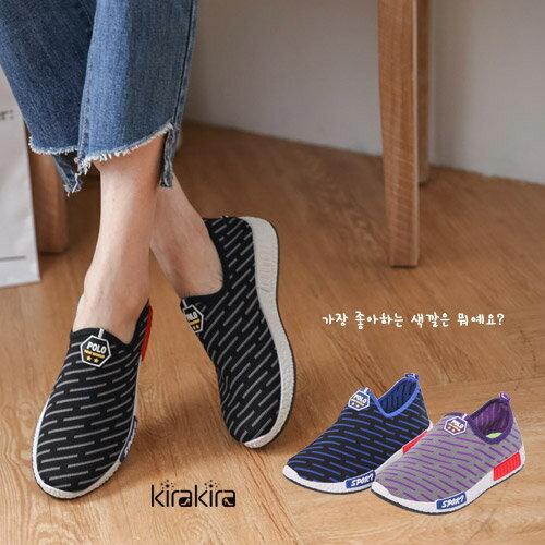 休閒鞋-POLO斜紋風懶人鞋