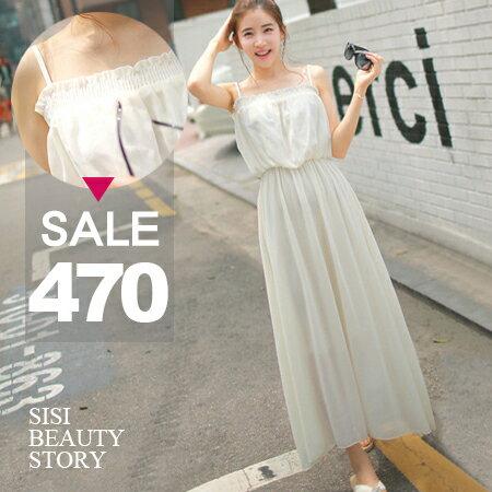 SISI【D6030】超甜美氣質雪紡平口高腰細肩帶長洋裝露肩垂墜連身長裙小禮服