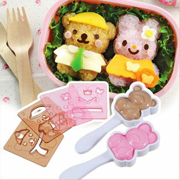PS Mall╭*手作便當!熊熊兔兔造形表情變裝造型DIY便當飯糰模具組【J270】