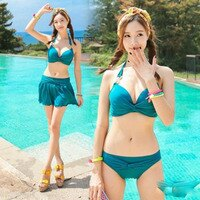 比基尼/泳裝/泳衣到PS Mall 韓版新款夏日 裙式 鋼托聚攏時尚溫泉 三件式比基尼泳衣游泳衣溫泉沙灘BIKINI【ET068】