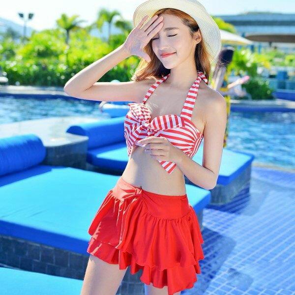 PS Mall 海軍風條紋 蝴蝶結比基尼三件式鋼托聚攏比基尼泳衣游泳衣溫泉沙灘BIKINI
