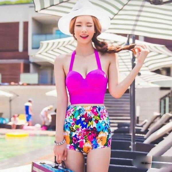 PS Mall  泳衣三角二件式 鋼托聚攏碎花 高腰比基尼泳衣游泳衣溫泉沙灘BIKINI~