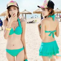 比基尼/泳裝/泳衣到PS Mall 韓版新款裙式三件式泳衣單色 比基尼泳衣游泳衣溫泉沙灘BIKINI【ET348】
