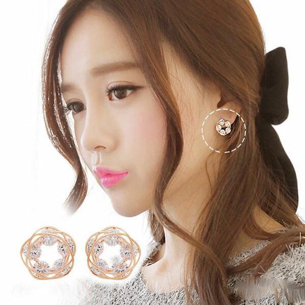PS Mall 簡約 情人 飾品 氣質淑女鏤空花朵耳環鋯石耳釘 耳環 耳飾 水鑽~G175