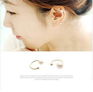PS Mall╭*韓版訂製 甜美精緻珍珠耳骨夾 夾式耳環 【G697】