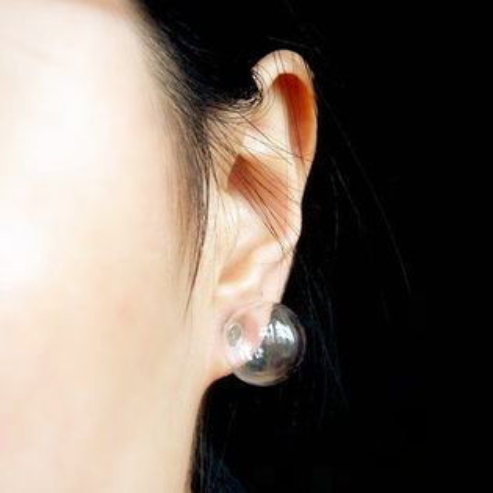 PS Mall 原宿時尚 簡潔大方 玻璃氣泡透明手作原創耳環 耳針 單邊【G797】