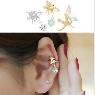 PS Mall╭*韓版U型耳夾 合金水鑽小鹿斑比 天使精靈耳骨環 夾式耳環 單邊【G800】
