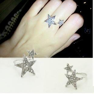PS Mall╭*韓版質感飾品 滿鑽星星開口戒指 個性關節戒指【G977】