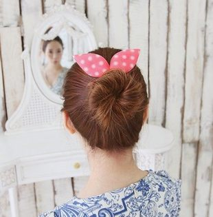 PS Mall╭*韓國最新海綿寶寶 盤髮器髮飾圓點條紋碎花 兔耳朵 丸子頭海綿盤髮器 DIY髮器【H040】
