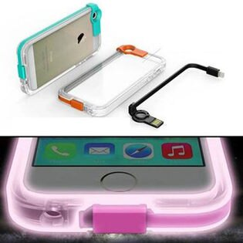 PS Mall 發光充電帶資料傳輸線充電線 蘋果iphone6 手機保護套 保護殼手機殼I6 iphone6&6S 可用【J083】