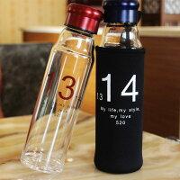 PS Mall 買一送一 情侶對杯 1314 一生一世 玻璃隨行杯 情侶水杯 運動水壺 冷水壺 對杯 贈 加厚杯袋【J1504】