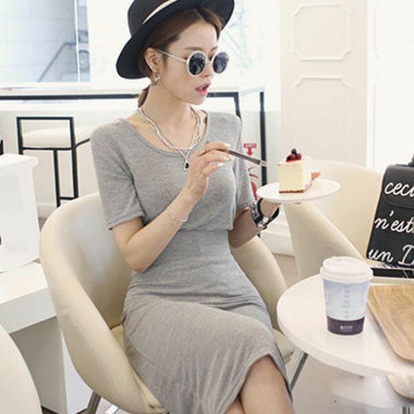 PS Mall  氣質挖空露背短袖上衣 修身顯瘦長裙 性感裙式套裝~T5260~ ~  好