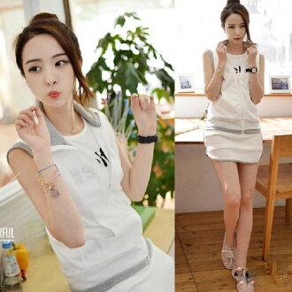 PS Mall 韓版 寬鬆無袖外套短裙兩件式運動套裝 休閒套裝 可愛慢跑服 罩衫【T5508】