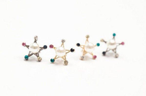 PS Mall╭~ 飾品 珍珠五角星彩色水鑽耳釘耳環 金色閃亮 韓國小宇宙~G1441~