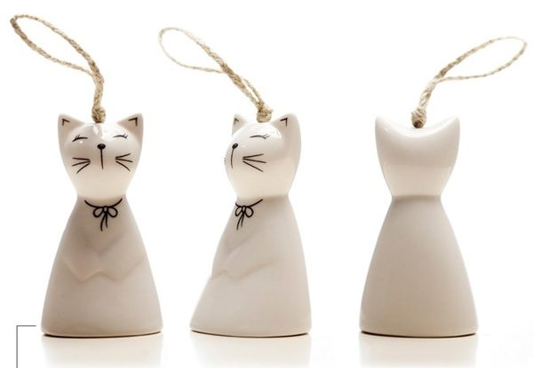 PS Mall╭~可愛日式 手繪陶瓷小貓風鈴 小款 裝飾吊飾~J2356~
