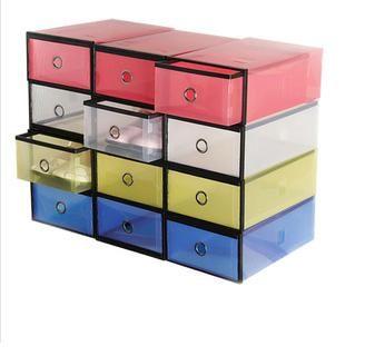 PS Mall╭~ 金屬包邊透明鞋盒 加厚抽屜式 塑料鞋盒子 水晶鞋盒 收納盒 2入~S1