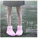 PS Mall 日本最愛超萌柔軟羽毛暖呼呼室內鞋/地板靴/室內拖鞋可水洗 短靴【J1544】
