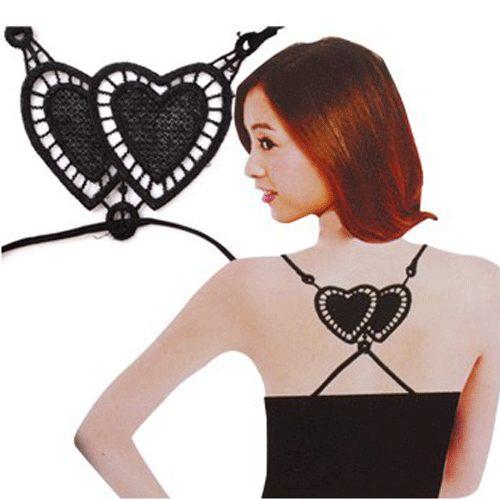 PS Mall╭~雙愛心鏤空隱形肩帶 後背交叉胸罩肩帶性感 舒適內衣肩帶~H175~ ~