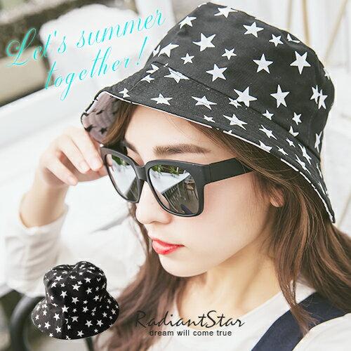 韓國穿越日夜星星雙面可戴可折易攜漁夫帽【C053】璀璨之星☆