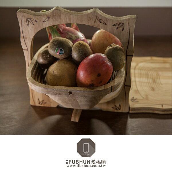 iFUSHUN 竹木製摺疊水果籃 糖果餅乾收納籃 鍋墊