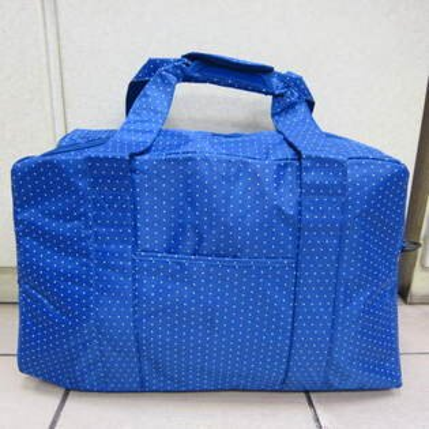 ~雪黛屋~X-TREME小點點可愛旅行袋防水尼龍布材質超大購物袋 大容量 好收納不占空間XT262 藍