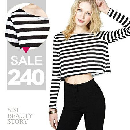 SISI【L6047】歐美風休閒隨性黑白條紋短款露肚臍長袖圓領款寬鬆T恤上衣