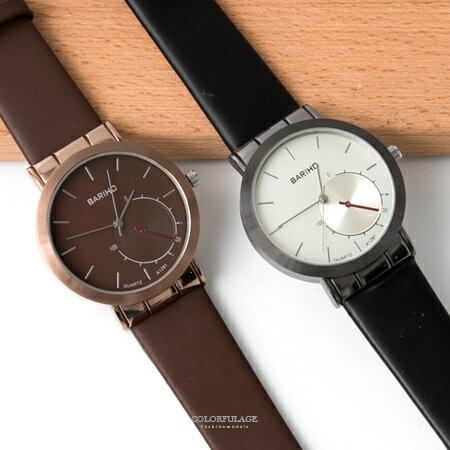 手錶 簡單銀框刻度設計腕錶 面板假唱片盤造型款 柔軟皮革錶帶 柒彩年代【NE1885】單支售價 - 限時優惠好康折扣