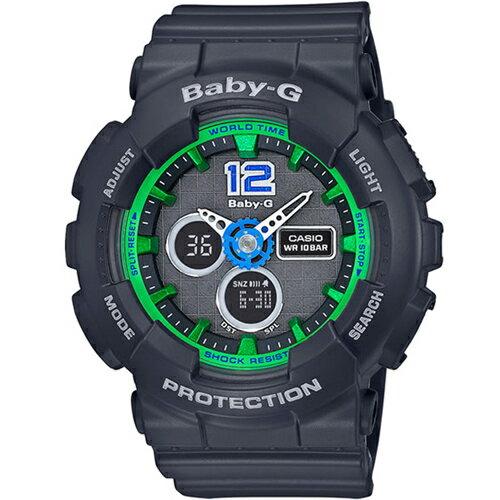 CASIO BABY-G BA-120-1B墨綠運動雙顯流行腕錶/彩色面43.4mm