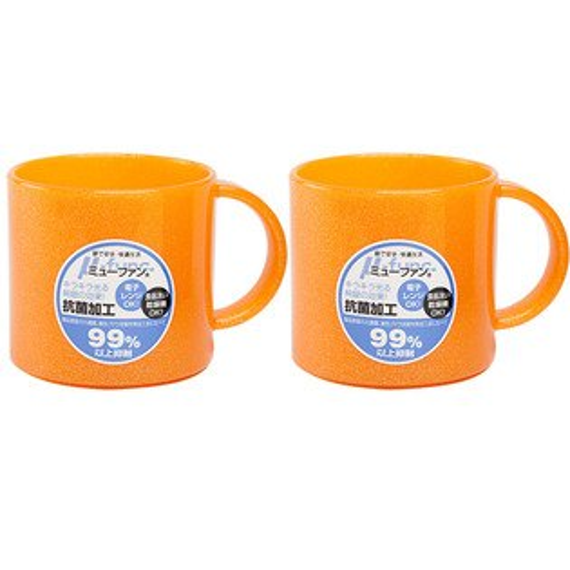 日本製mju-func®妙屋房銀纖維高級抗菌加工潄口杯雙人2件組(粉橘+粉橘)