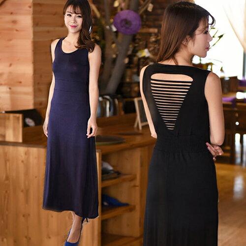 無袖洋裝 後鏤空收腰貼身無袖洋裝連身裙【XY024】 BOBI  04/28