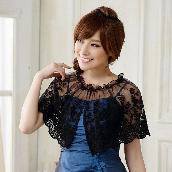 灰姑娘[9614-JK]透膚小花蕾絲禮服搭配罩衫小外套~