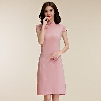灰姑娘[9856-JK]中大尺碼*復古風秀氣短袖唐裝改良式旗袍禮服~謝師宴洋裝