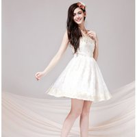 時尚洋裝 小禮服推薦到灰姑娘[2313-S]金線繡花蕾絲抹胸小禮服洋裝**謝師宴伴娘服