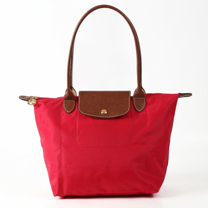 [2605-S號] 國外Outlet代購正品 法國巴黎 Longchamp 長柄 購物袋防水尼龍手提肩背水餃包紅色 0