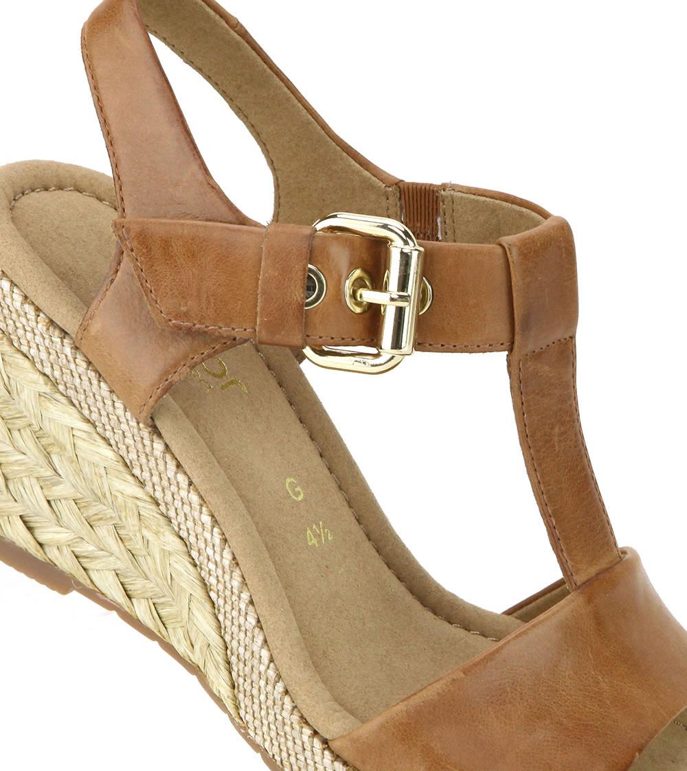 Gabor 修身輕躍 時尚金屬扣飾楔型涼鞋 濃咖啡 5