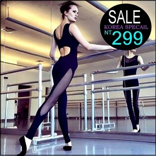☆克妹☆現貨+預購【ZT32232】Jumpsuits外貿單歐美併接性感網紗瑜珈運動連身褲