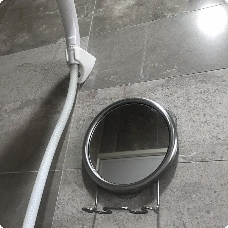 【凱樂絲】浴室吸盤不鏽鋼防霧化妝兩用鏡, 可掛刮鬍刀, 沐浴球 不需鑽孔或打洞, 不損害牆面, 可吸附於磁磚表面, 易安裝 3