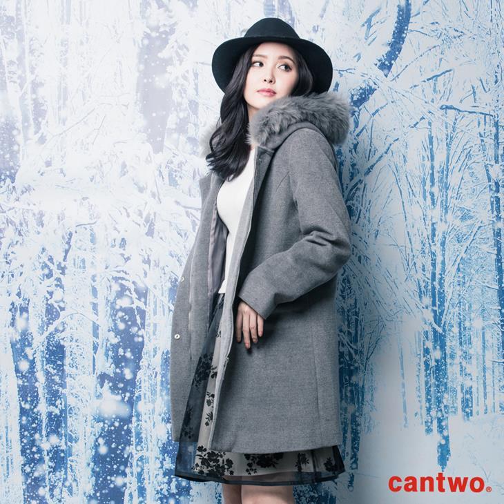cantwo素色微光澤毛領長版大衣(共二色) 2