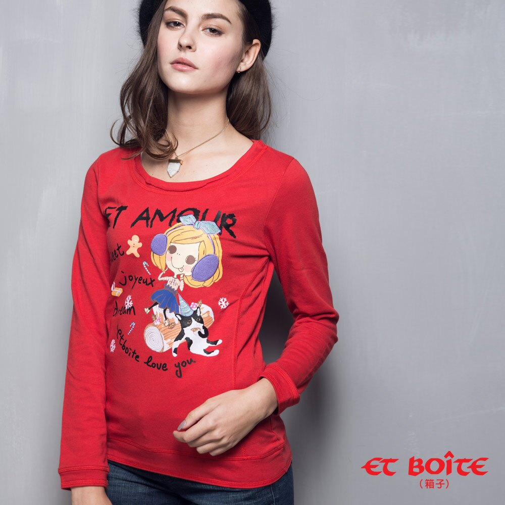 【ET BOiTE 箱子】X'mas蜜糖娃娃長袖T恤 - 限時優惠好康折扣