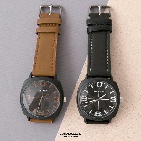 手錶 厚實質感十字設計面板皮革腕錶 車線錶帶造型 中性優質錶款 柒彩年代【NE1857】單支售價 - 限時優惠好康折扣