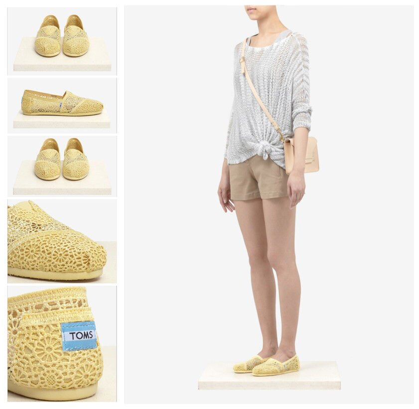 【TOMS】淡黃色蕾絲鏤空繡花平底休閒鞋  Lemon Crochet Women's Classics 5