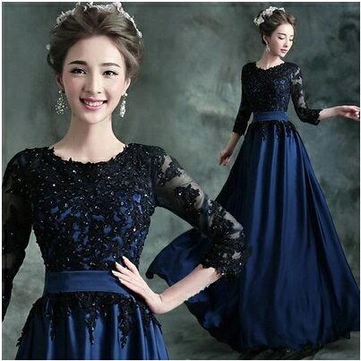 天使嫁衣【AE10097】深藍色蕾絲釘珠片中袖收腰晚禮服˙預購訂製款