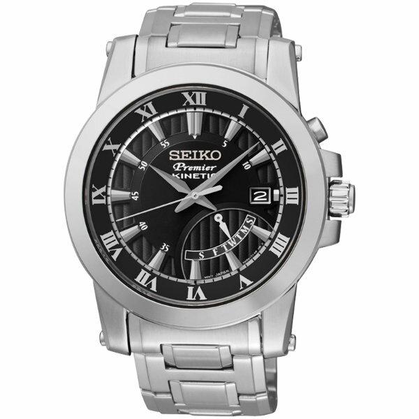 Seiko Premier 5M84-0AA0D(SRN039J1)人動電能經典羅馬腕錶/黑面41mm