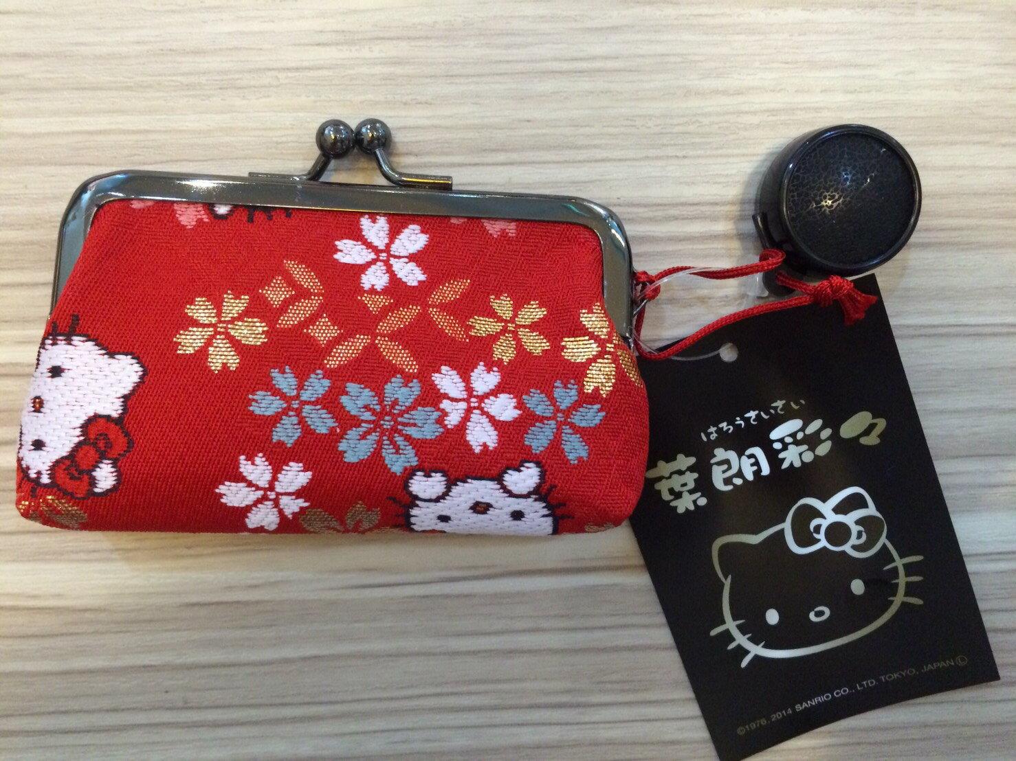 正品 Hello Kitty 葉朗彩 刺繡印鑑口金包 附印泥 製