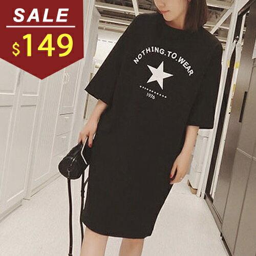 連身裙 星星1976字母寬版圓領連身洋裝 小豬兒 MiNi Jule ~YCA610461