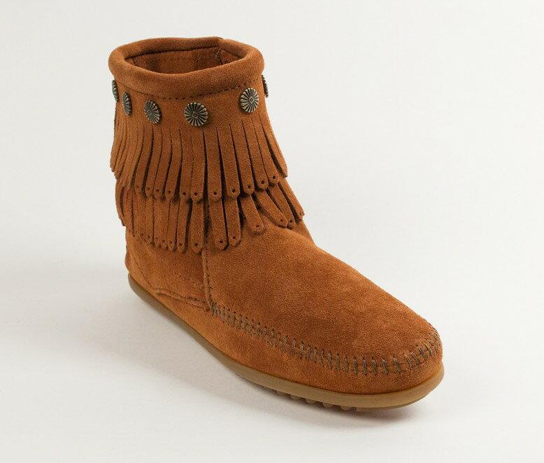 【Minnetonka 莫卡辛】棕色 - 雙層麂皮流蘇踝靴 0