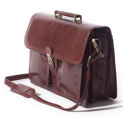 Tassia Classico Single Clasp Flapover Briefcase (cognac) 0