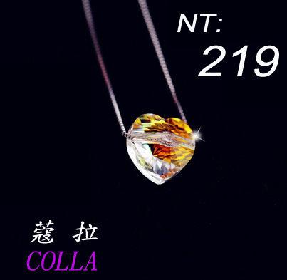 ✻蔻拉時尚✻ [KN007] 純銀水晶項鏈__極光桃心+925純銀項鏈/特價219!